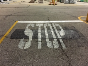 Old STOP road paint