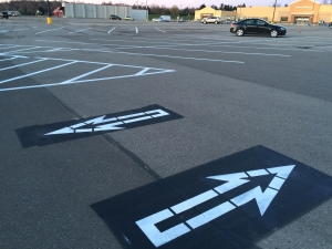 Newly painted pavement arrow signage