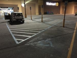 Before: Old handicap parking paint for parking lot