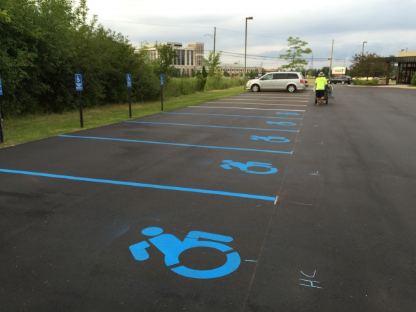 Safety Line Striping Services Troy MI - Action Pavement Striping - parking-lot-handicap-stenciling
